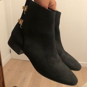 Chloe suede ankle boots with gold buckle